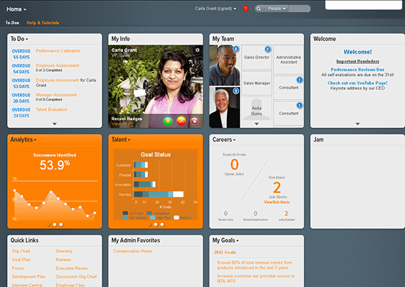 The SuccessFactors Home Page