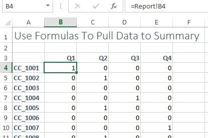 zeros in summary worksheet