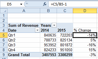 Excel year-over-year report