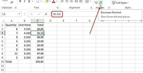 Decrease Decimal