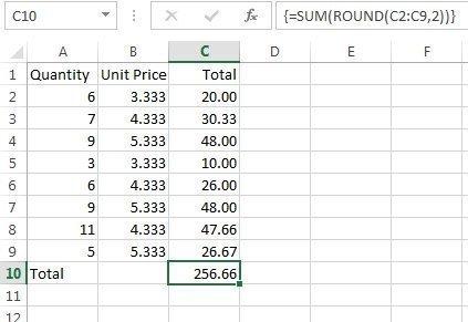 Excel total