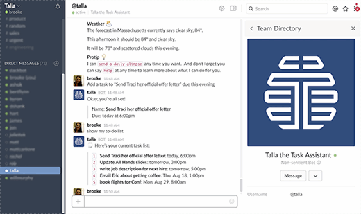 Talla HR chat bot