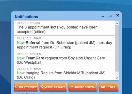 Par8o's patient referral process software coordinates a specialist's notifications.