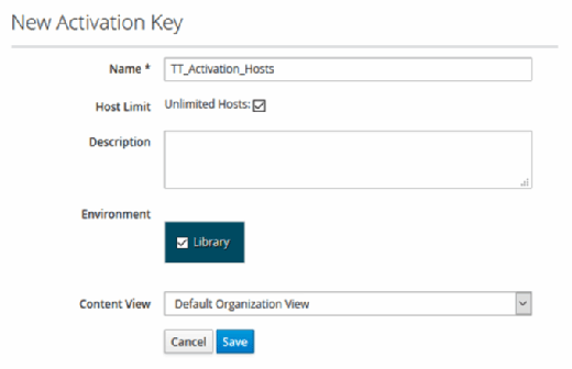 Activation key for Red Hat Satellite