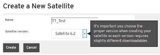 Satellite server creation