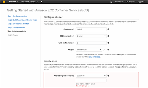 Amazon EC2 Container Service window