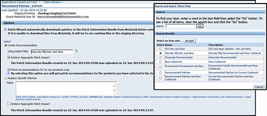 Fig. 1: Create a recommendation in the Patch Wizard. Note that clicking in the search box next to Usign Patch Filter will open up a pop-up window.