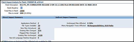 Fig. 4: The Direct Impact Summary and the Indirect Impact Summary columns in the Patch Impact Analysis.