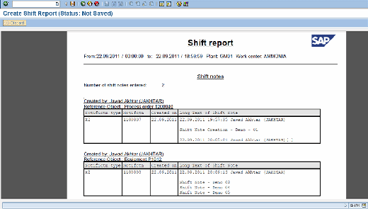 Shift Report Copy