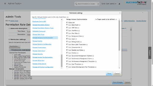 Permissions Employee Central instance synchronization tool