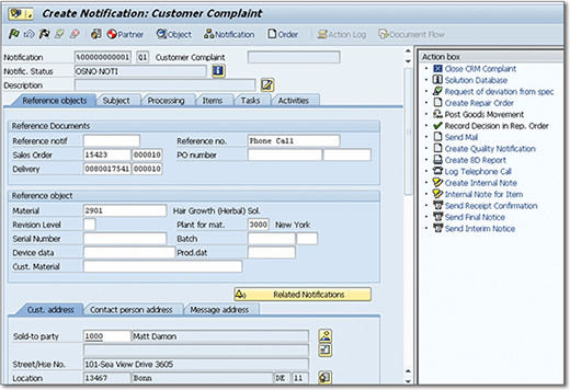 A customer complaint as a notification without using SAP Screen Personas