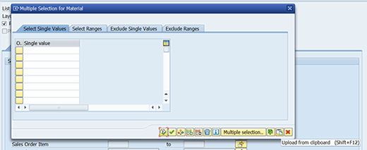 Window that appears after choosing the 'Multiple Selection' icon for 'Material' in SAP.