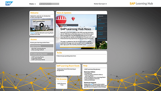 SAP Learning Hub home screen