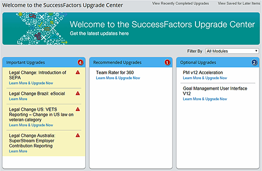 SuccessFactors Upgrade Center