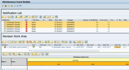 Ansicht des SAP Maintenance Event Builder.