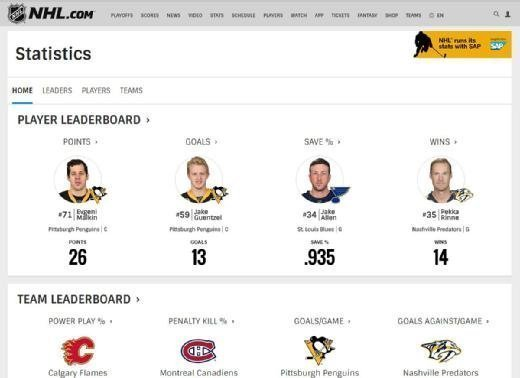 The NHL statistics section was designed to enhance the fans' experience with easy searching and clear graphic design.