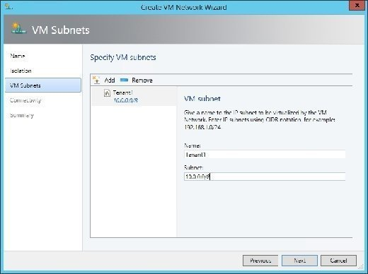 Enter a name and subnet for the VM network