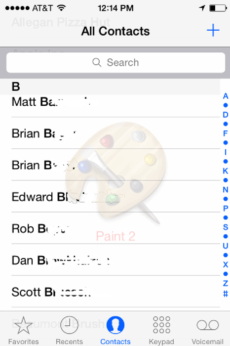 Example contact list