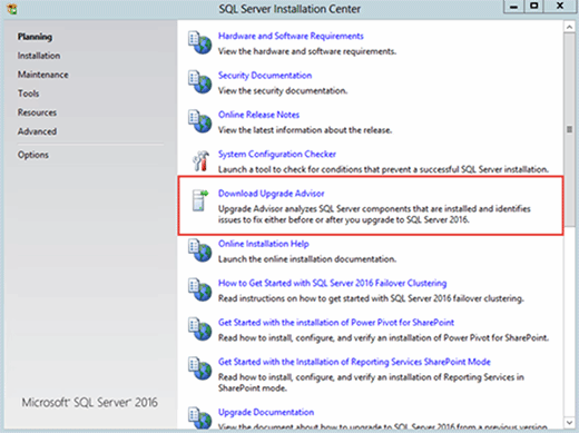 SQL Server Installation Center steps for SQL Server 2016