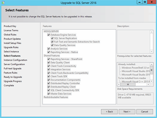 SQL Server upgrade wizard