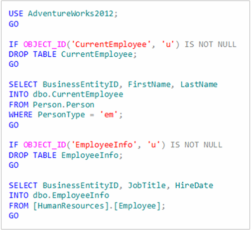 code for creating a SQL Server table