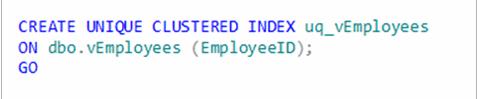 creating a unique clustered index