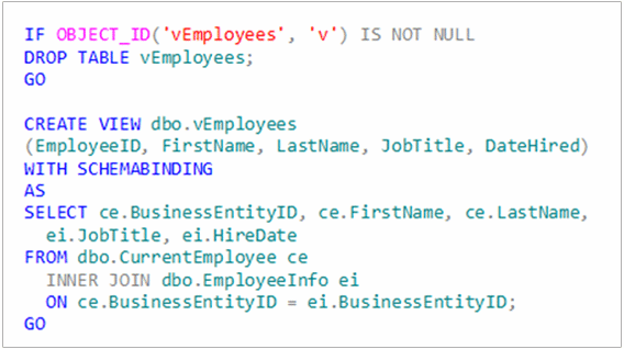 code for creating a view in SQL Server