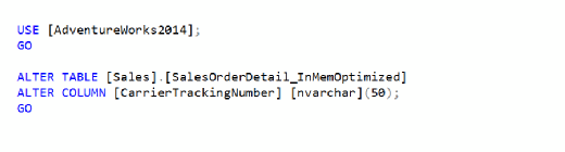 Figure 2: Change CarrierTrackerNumber column data type