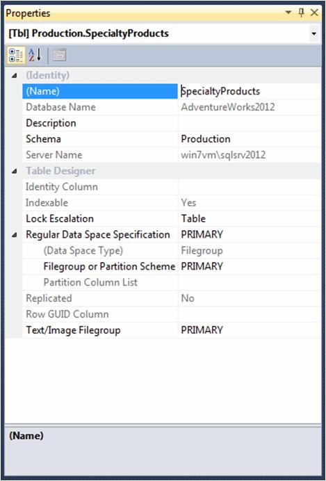 Modifying table properties in SSMS Table Designer