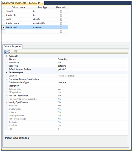 Using Sql Server Management Studio Table Designer To Create A Table