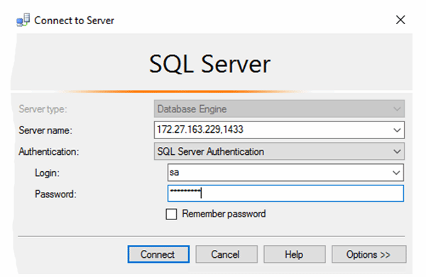 SSMS connects to the SQL Server Instance