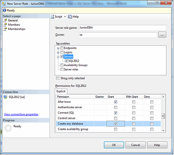 Figure 3: Selecting permissions on the General page for the new server role