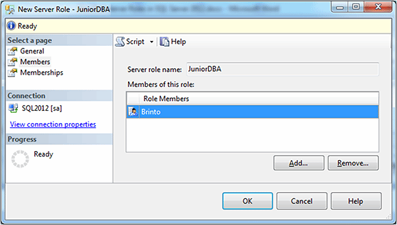 Figure 4: Using the Members page to add new role members to the new server role.