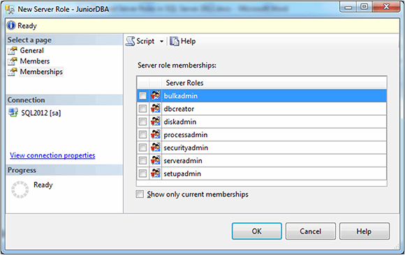 Figure 5: Creating the user-defined server role on the Members page.