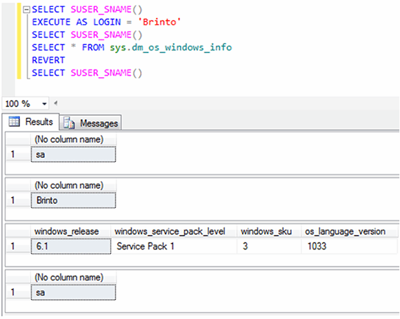 Figure 9: Verifying permissions for the new SQL Server role and viewing them in the dynamic management view