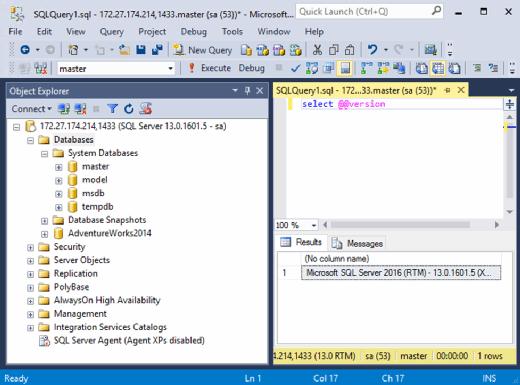Microsoft SQL Server 2017 dashboard