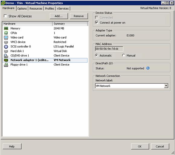 Adjusting VMware VM properties