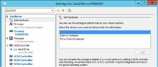 Settings for Gen2VM