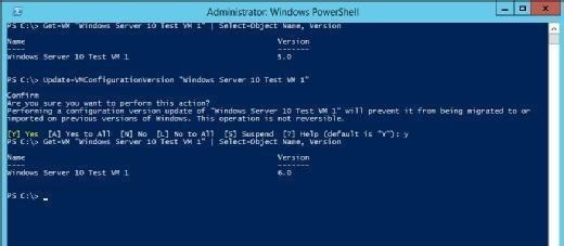 The VM has been upgraded to Hyper-V version 6
