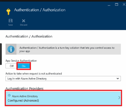 Turn on app service authentication