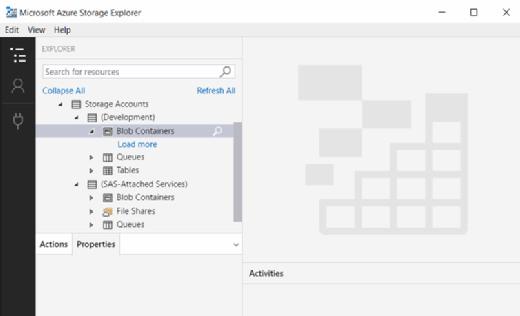 Storage accounts in Azure Storage Explorer