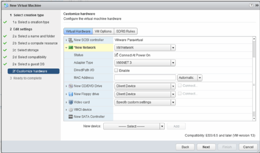 Customize VMware virtual hardware