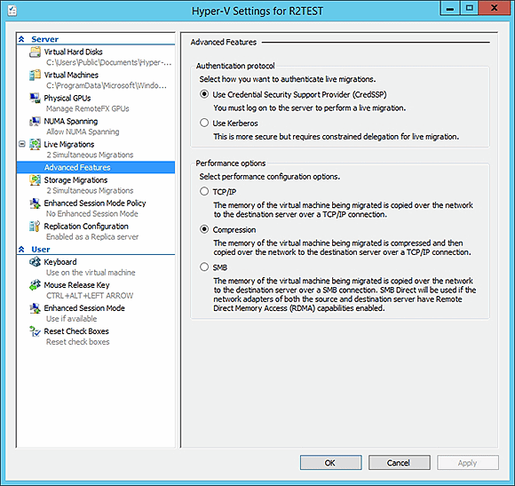 Live-migration performance settings located in the Advanced Features container