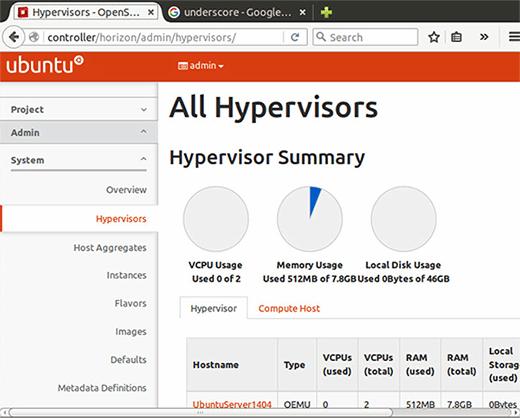 Hypervisor and hardware use statistics.