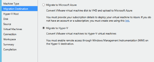 Auswahl Migrate to Hyper-V im Microsoft Virtual Machine Converter.