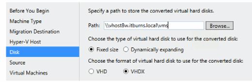 Konfiguration des Upload-Ziels für die konvertierten VMs.