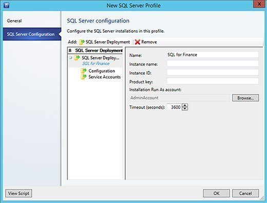 SQL Server creation window.