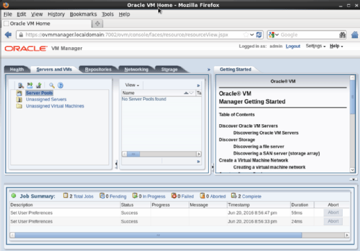 Oracle VM Manager web interface