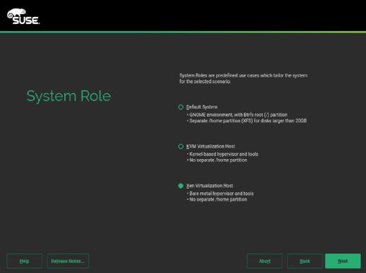 SLES installs a hypervisor host