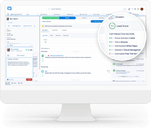 Salesforce Einstein Lead Scoring dashboard